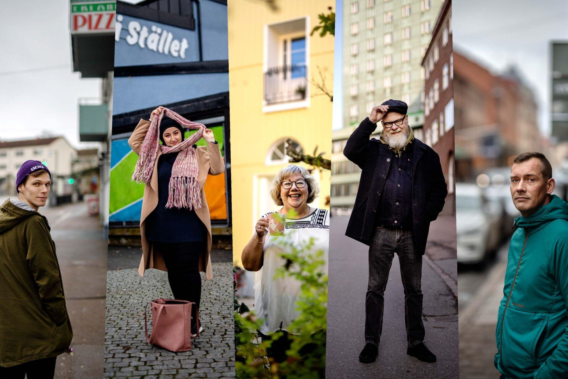 Fem personer ur projektet Göteborg berättar i olika delar av staden