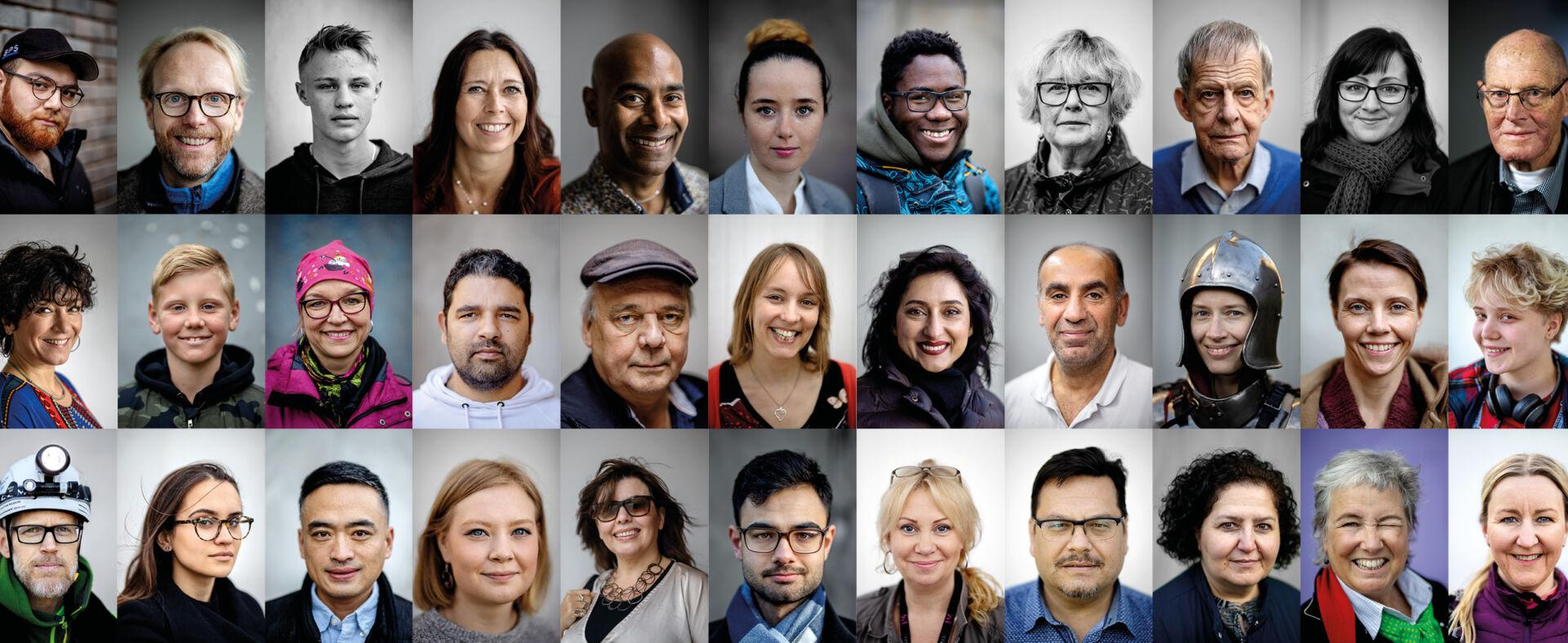 Ett collage av ansikten av göteborgare som deltagit i projektet Göteborg berättar
