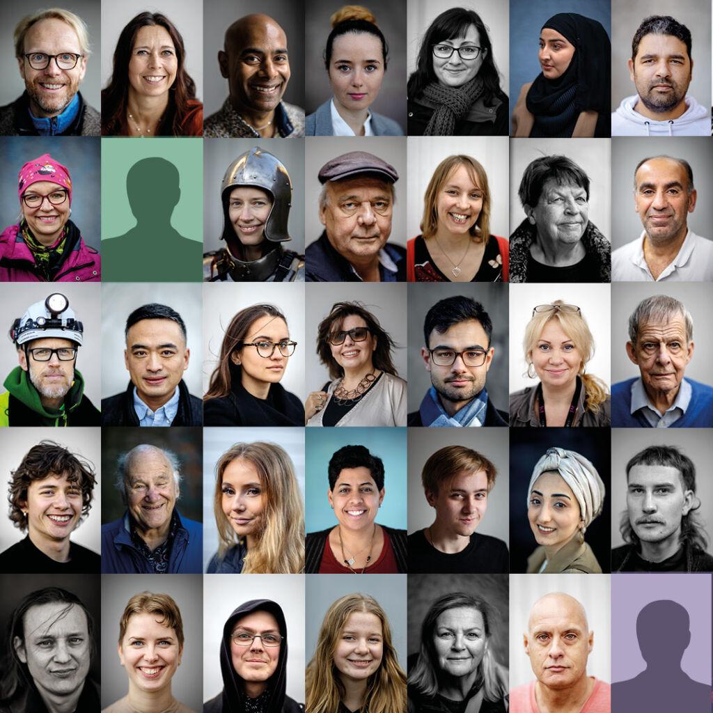Collage av människor
