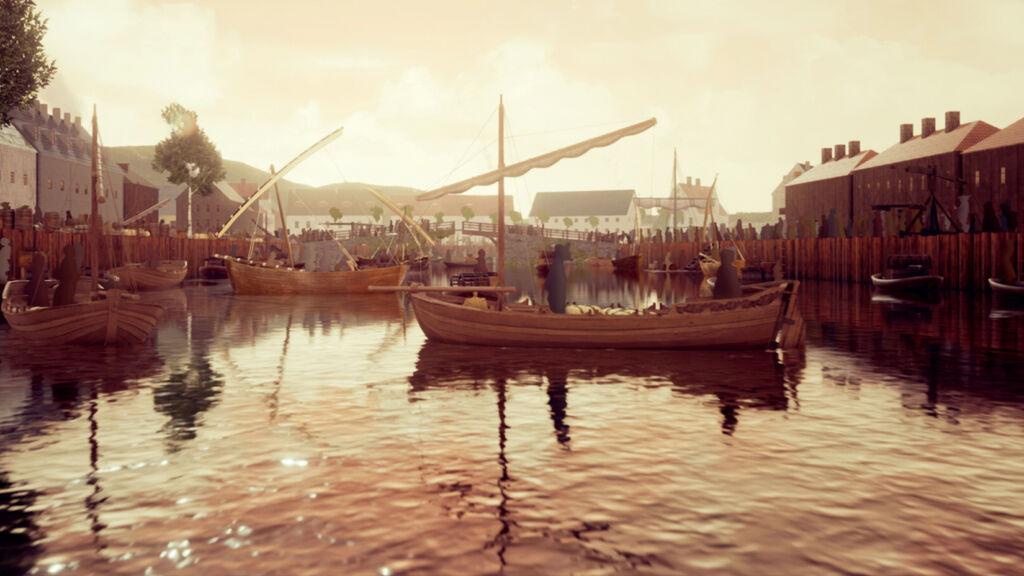 visualisering av 1600-talets göteborg, båt på vatten